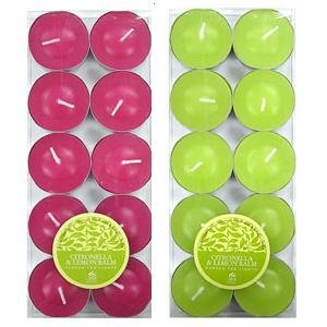 20 x CITRONELLA & LEMON BALM - Shearer Candles - Scented TEALIGHTS For Garden 4.5 Hours (2 x 10 Packs) GREEN and PINK