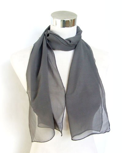 Georgette Hand Sewn Dark Gray Silk Long Scarf 12 x 56 by PAUL COSTELLOE