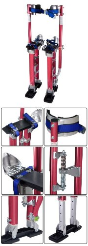 Adjustable 24 to 40 painting drywall stilts aluminum red for Drywall delivery cost