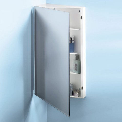 Broan-Nutone 867P30Wh Corner Single-Door Surface Mount Medicine Cabinet With 2-Shelves front-605192