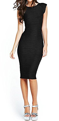 Taydey Women's Midi Dresses Sleeveless Knee Length Party Evening Dress, Large, Black