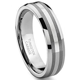 6MM Tungsten Carbide 14K White Gold Inlay Wedding Band Ring Size 5-13