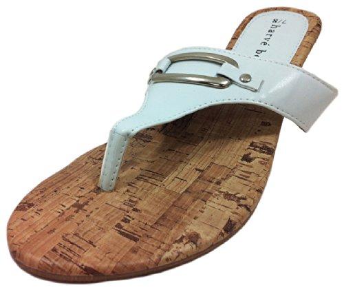 White Cork Wedge Sandals
