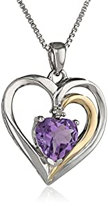 """Sterling Silver and 14k Yellow Gold Amethyst and Diamond-Accent Heart Framed Pendant Necklace (.007 cttw, I-J Color, I2-I3 Clarity), 18"""" + 2"""" Extender"""