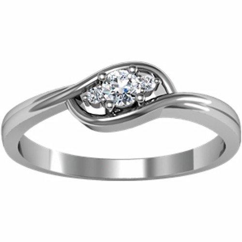 10K White Gold Diamond Ring - 0.12 Ct. - Size 8