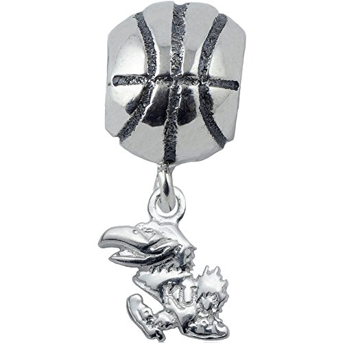 925 Silver University of Kansas Jayhawks Collegiate Basketball Slider Bead