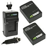 Wasabi Power Battery (2-Pack) and New Charger for GoPro HD HERO3+, HERO3 and GoPro AHDBT-201, AHDBT-301, AHDBT-302