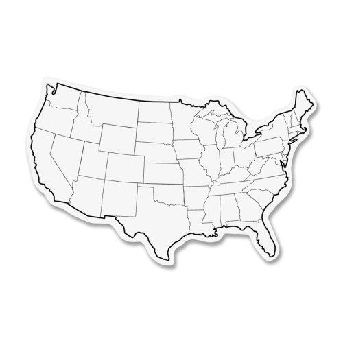 Chenille Kraft White Board Die Cut USA Map, 10-Piece