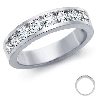 CLEARANCE-3MM H - I/I1 0.40Ct Round Diamond Half Eternity Ring, 500 Palladium