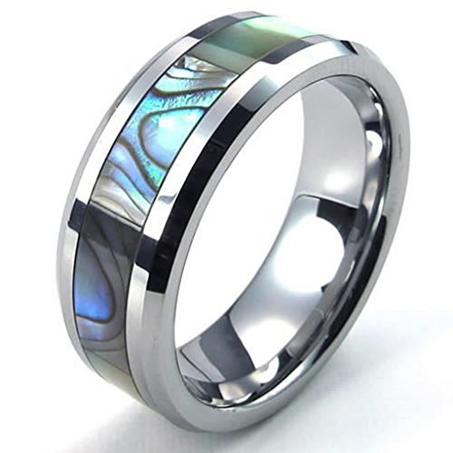 Beydodo Tungsten Ring (Punk Bands) AbaloneBand Silver Blue Width 8mm Size 10 For Men (Imperial Ring Tungsten compare prices)