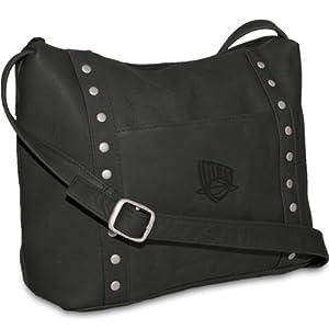 NBA New Jersey Nets Black Leather Ladies Mini Top Zip Handbag by Pangea Brands