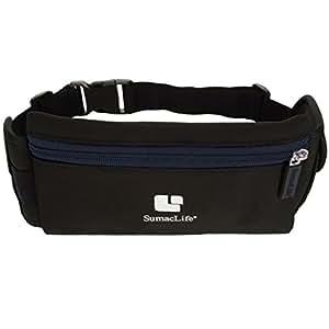 SumacLife Performance Sport Workout Exercise Running Belt Pouch Bag for Smartphones Keys etc - Retail Packaging - Black/Blue