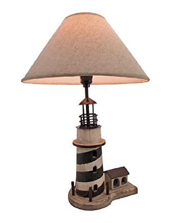 lighthouse table lamp with linen shade nautical lamp. Black Bedroom Furniture Sets. Home Design Ideas