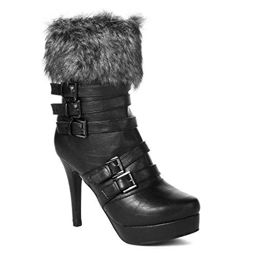 Twisted Women'S Vanessa Faux Fur Trim Platform Booties - Black, Size 6