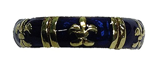 Authentic Hidalgo 18K Yellow gold Fleur De Lis ring w/Blue Enamel RJ3073BEYG (Hidalgo Enamel Rings compare prices)