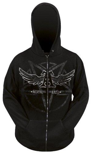 Alchemy-Felpa con cerniera MEC Gothic-Satan' s Shield-Nero Negro / Gris / Blanco XXL