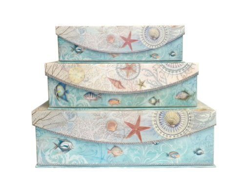 Punch Studios Seascape Set of 3 Nesting Flip Top Boxes with Magnetic Closure