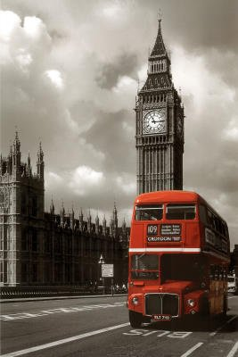 London (Red Bus) Art Poster Print - 61x91 cm