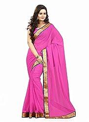 Clothsguru Women's Chiffon Saree with Blouse Piece (Pink)