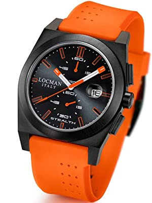 Locman Mens Stealth Watch Ceramic PVD Coating Black/Orange 202BKPVBKOROR