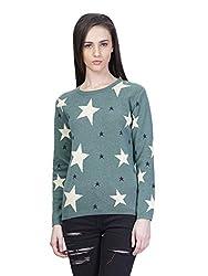 Kalt Women's Cotton Sweater(W129 5XL_Green Melange_XXXXX-Large)
