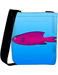 Snoogg A Vector Illustration Of A Pink And Purple Hooded Wrasse Fish On Blue Backg Womens Carry Around Cross Body...