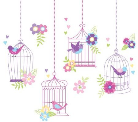 Wall Pops WPK0625 Chirping The Day Away Wall Decals, Two 17. 25-inch by 39-inch sheets - 1
