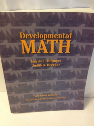 Developmental Math: MATV 0028 Volume II, Custom Edition for Brevard Community College