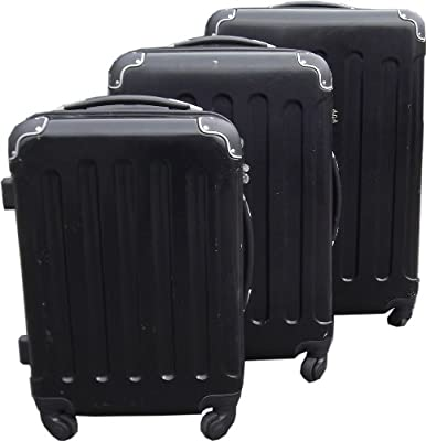 Set of 3 Super Lightweight Hard Plastic Black Luggage Trolley Suitcases Wheels by KD & Jay