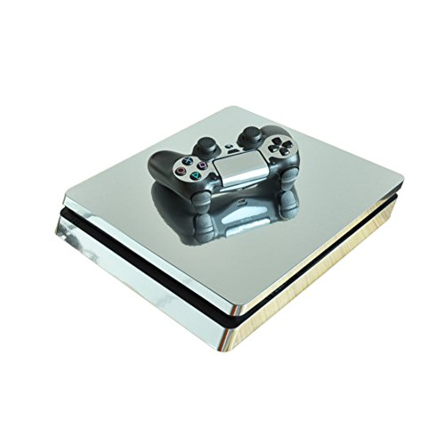 DOTBUY PS4 Slim Pelli Playstation 4 Slim Vinile Adesivi Skin Sticker Giochi PS4 Slim Sistema + Due Decalcomanie del Dualshock Controller (Glossy Silver)