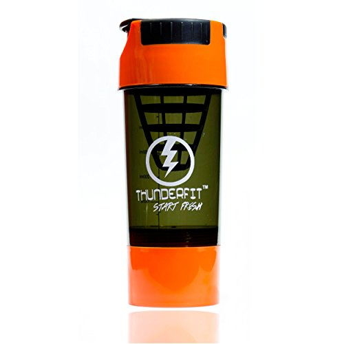 THUNDERFIT FITNESS TORNADO GYM PROTIEN SIPPER BOTTLE AND CUP 500 ML SHAKER , ORANGE AND BLACK