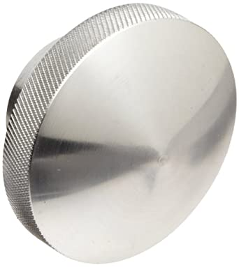 "Morton 6061 Aluminum Round Domed Knob, Knurled Rim, Threaded Hole, 3/8""-16 Thread Size x 1"" Thread Length, 2-1/4"" Diameter (Pack of 1)"