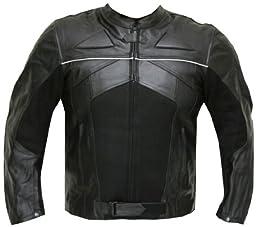 RAZER MENS MOTORCYCLE LEATHER JACKET ARMOR Black L