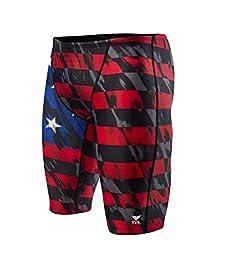 Men\'s TYR USA Valor Jammer Swimsuit, Red/White/Blue, 32 -Inch