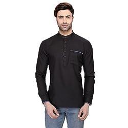 RG Designers Mens Full Sleeve Short kurta AVSONAPOCKET-BLACK