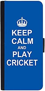 Snoogg Keep Calm And Play Cricket Designer Protective Flip Case Cover For Sam...