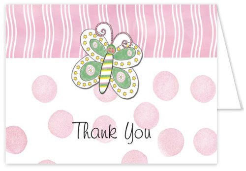 3D Butterfly With Pink Dots Baby Thank You Cards - Set of 20