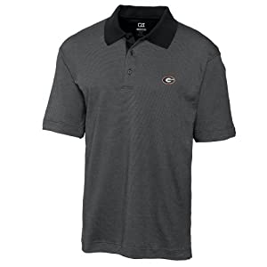 NCAA Mens Georgia Bulldogs Black Drytec Resolute Polo Tee by Cutter & Buck