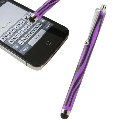 Italkonline Purple Black Zebra Print Executive Premium Advanced Touch Tip Stylus Pen With Rubber Tip For Lg G3 S Beat Duos