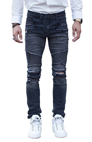 COUSIN CANAL Pista di Mens Distressed Denim Slim Biker Jeans strappati 041 28