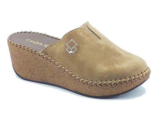 Pantofole per donna Cinzia Soft in camoscio taupe zeppa effetto sughero (Taglia 37)
