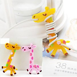 Bds - Cute Cartoon (Giraffe - Pink And Yellow - 2 Pieces) Earphone Winder / Cord Manager / Cable Winder + One Free Smart Wrap Silicone Rubber Earphone/Earbud Cord Manager Cable Winder Wrap Reel