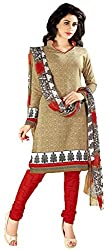 Vidhya LifeStyle Women's Cotton Printed Unstitched Dress Material(Beige)
