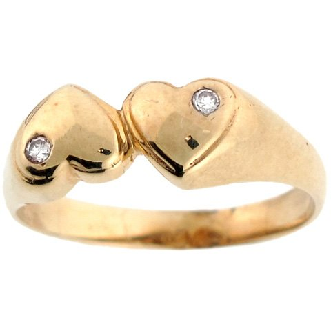 14k Two Tone Real Gold CZ Double Heart Love Symbol Promise Ring