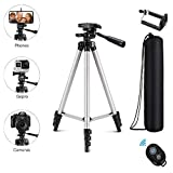 Eocean Tripod, 50-inch Video Tripod for Cellphone and Camera, Universal Tripod with Wireless Remote & Cellphone Holder Mount, Compatible with iPhone Xs/Xr/Xs Max/X/8/Galaxy Note 9/S9/Huawei/Google (Color: Silver(50in))