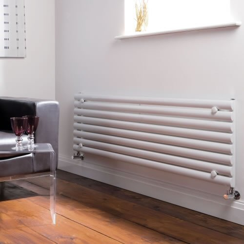 Milano Aruba - White Designer Radiator - Curved Panels - Luxury Central Heating Horizontal 'Oval' Columns - 472mm x 1780mm