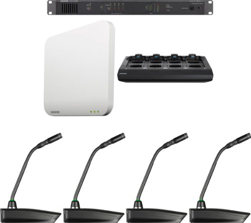 "Shure Mxws4G10/C Microflex Wireless 4 Channel Conference Room System With 10"" Cardioid Gooseneck Micophone"