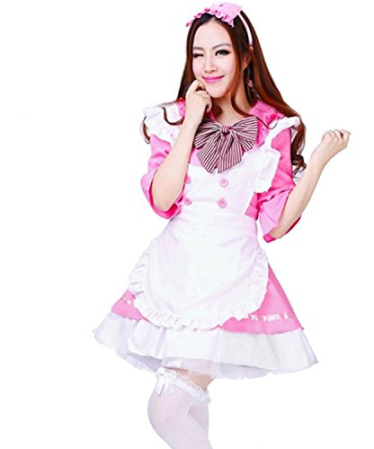 Treasure-box Women's Lolita Dress French Maid Costumes Including a Scarf As Gift 2-4 Pink (French Maid Uniform Dress)