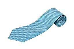 Extra Long Teal Houndstooth Silk Necktie