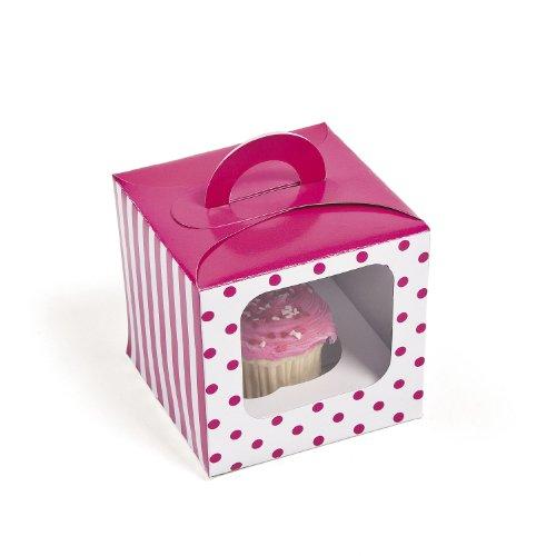 Hot Pink Polka Dot Cupcake Boxes (12 Pc) front-572756